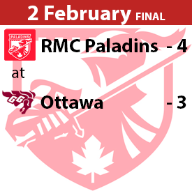 RMC Paladins at Ottawa Game Result Game 2 February 2020 Won